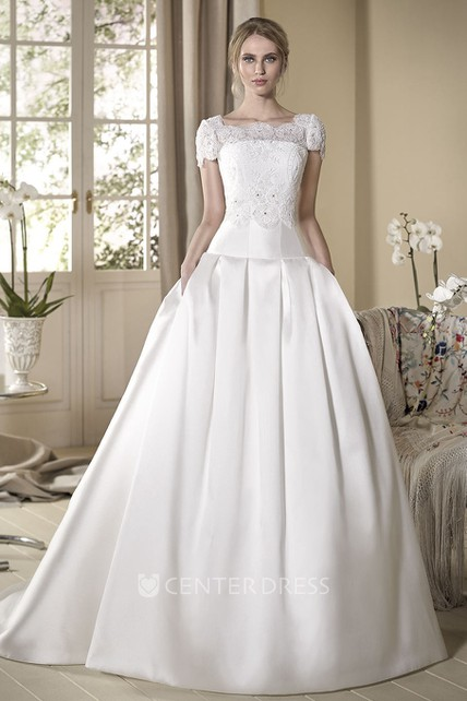 A-Line Cap-Sleeve Maxi Square-Neck Lace Satin Wedding Dress With ...