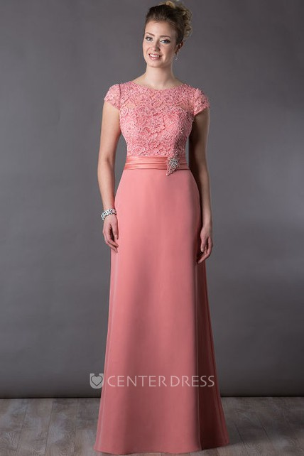 Lace Top Cap Sleeve Long Mother Of The Bride Dress With Crystal And Pearl Waist