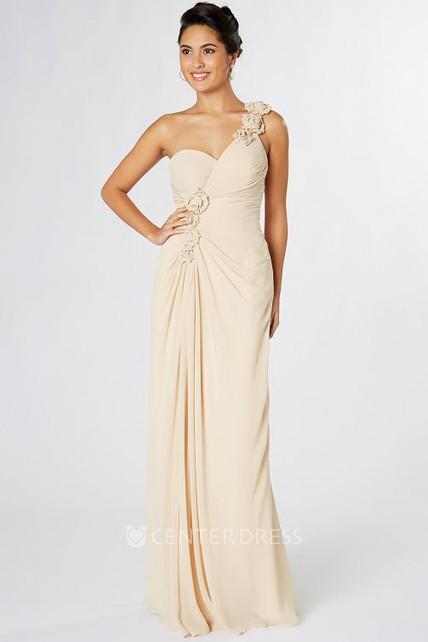 efe5f661d66 Sheath Sleeveless One-Shoulder Floral Chiffon Bridesmaid Dress - UCenter  Dress