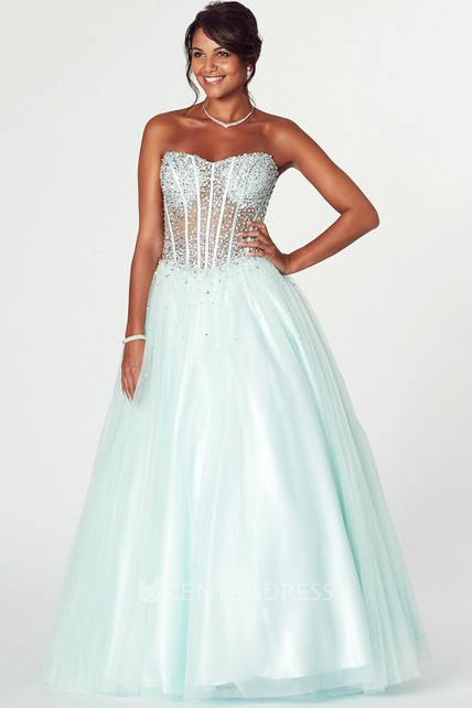 141203947669 A-Line Strapless Beaded Tulle Prom Dress With Lace-Up Back - UCenter Dress