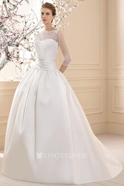 Long 3 4 Sleeve Lace High Neck Satin Wedding Dress Ucenter Dress