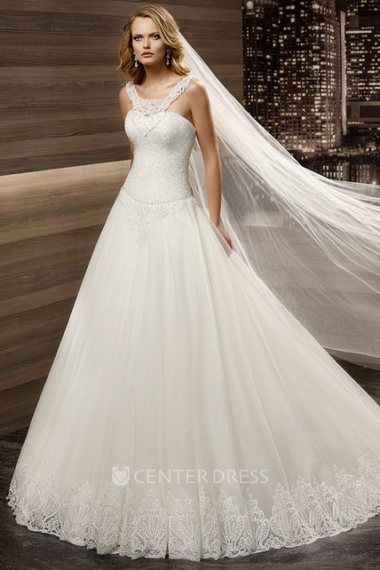 Scooped Neck A Line Wedding Dress With Lace Up Back And Brush Train