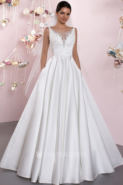 f47686fe115 Ball-Gown Bateau Lace Sleeveless Floor-Length Satin Wedding Dress With  Deep-V Back And Pleats - UCenter Dress