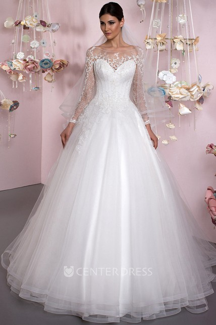 186611f506 Ball Gown Bateau Neck Appliqued Long Sleeve Tulle Wedding Dress - UCenter  Dress