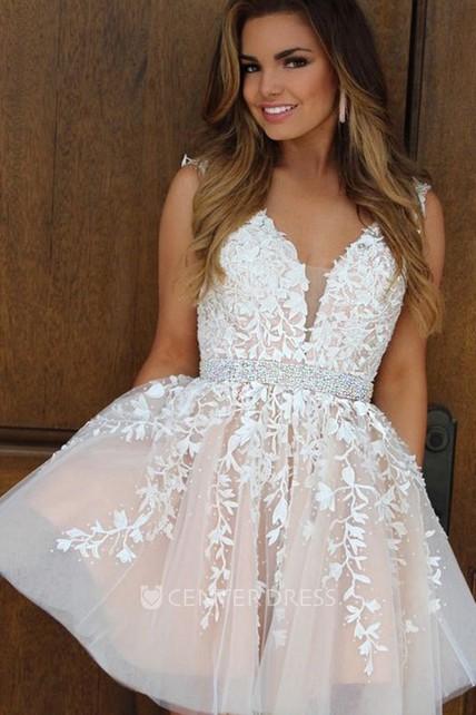 ecb56711f7e A-line Ball Gown Short Mini Sleeveless V-neck Beading Ruching Ruffles Lace  Homecoming Dress - UCenter Dress