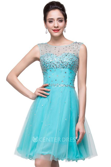 4a491087c8c Classic Sleeveless Tulle Short Homecoming Dress With Crystals - UCenter  Dress