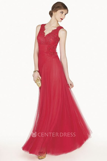 Scalloped V Neck A-Line Tulle Long Prom Dress With Empire Floral Waist