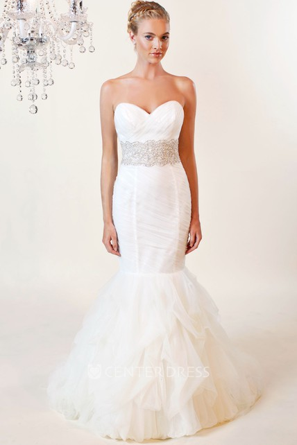 7bf4371f2f Mermaid Sweetheart Jeweled Tulle Wedding Dress With Criss Cross And Ruffles  - UCenter Dress