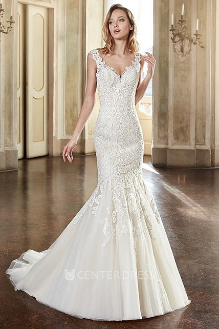 59c49484c85 Trumpet V-Neck Long Cap-Sleeve Appliqued Lace Wedding Dress With Pleats -  UCenter Dress