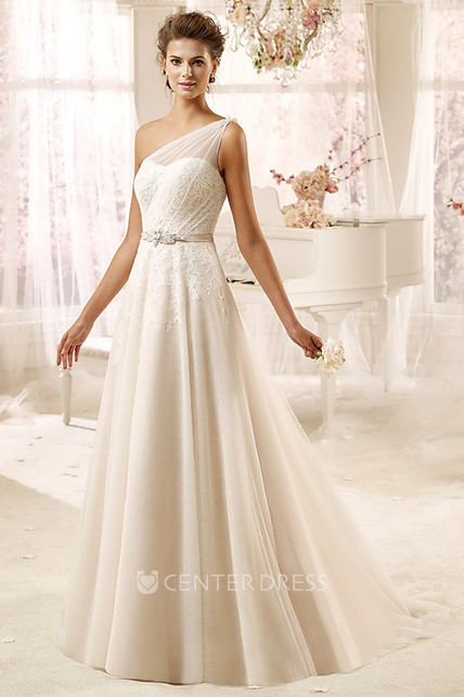 fd8f1889070 Sweetheart One-Shoulder Draping Wedding Dress With Tulle Strap And Satin  Sash - UCenter Dress