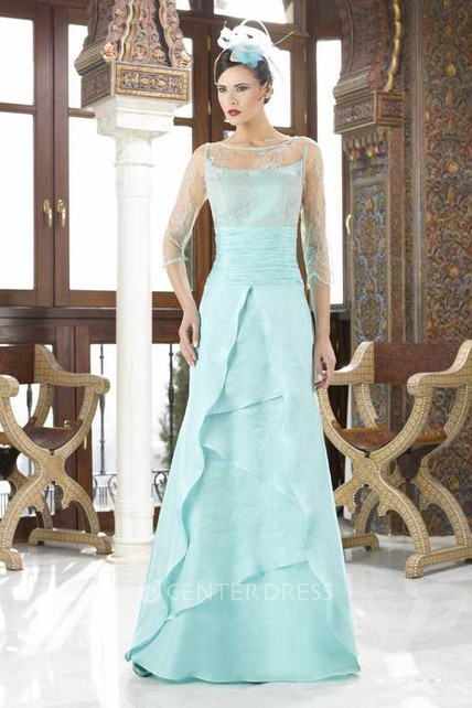 Maxi 3-4 Sleeve Illusion Bateau Neck Chiffon Mother Of The Bride Dress