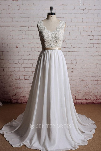V-Neck Long Chiffon Bridal Gown With Champagne Lining of the Bodice -  UCenter Dress 4c20b3170