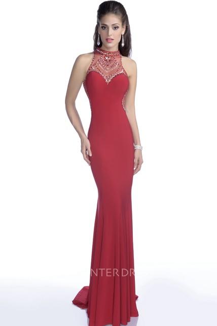 3ee73536d25 Elegant Jersey Sleeveless High Neck Prom Dress With Bling Rhinestones - UCenter  Dress