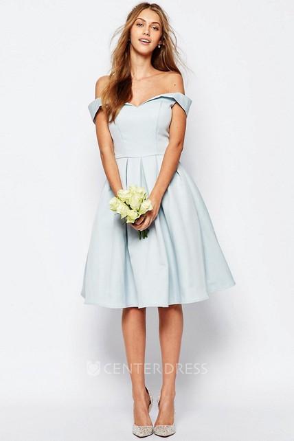 f66d4b5ec45 A-Line Knee-Length Strapless Satin Bridesmaid Dress - UCenter Dress