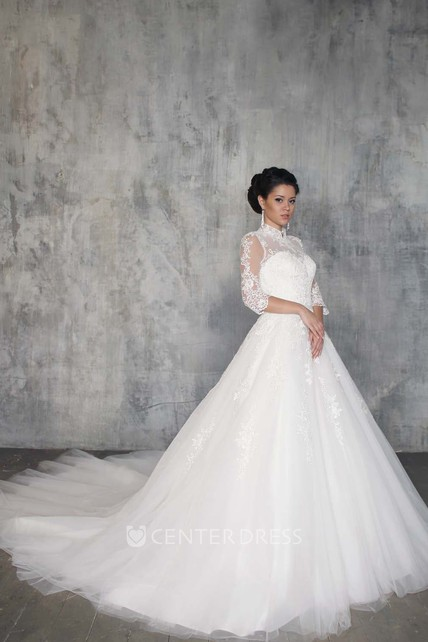 c6623a5747f71 Ball Gown Long High-Neck 3-4-Sleeve Illusion Tulle Dress With Appliques - UCenter  Dress