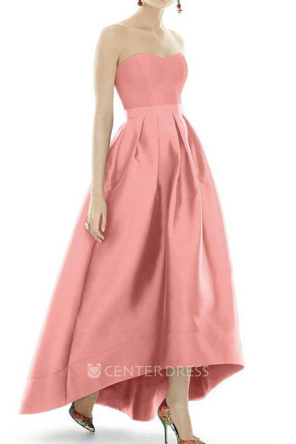 72c5bc8b9457 Satin High-low Ball Gown Dress with Pleats - UCenter Dress