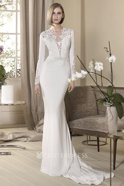Sheath Long Appliqued High Neck Long Sleeve Jersey Wedding Dress