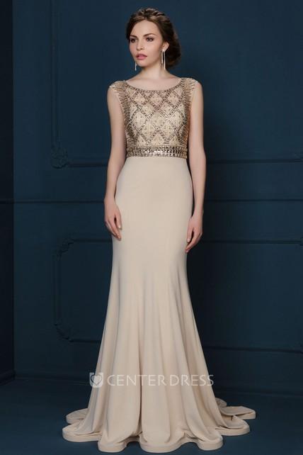 5a95ffcacd Sheath Sleeveless Scoop-Neck Floor-Length Crystal Jersey Evening Dress With  Pleats - UCenter Dress