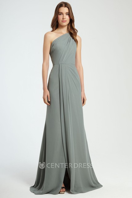 bb555a4b5941 A-Line Sleeveless Ruched Long One-Shoulder Chiffon Bridesmaid Dress With  Split Front - UCenter Dress