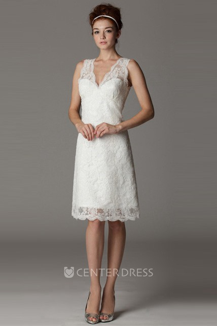 V-Neck Sleeveless Short Lace Wedding Dress