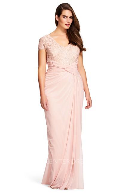 Sheath Ruched Short-Sleeve V-Neck Chiffon Plus Size Bridesmaid Dress ...