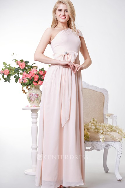 8ec44127800 Greek Style One Shoulder Chiffon Long Dress With Bows - UCenter Dress