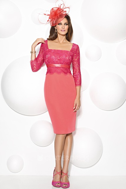Sheath Knee-Length Square Neck 3-4 Sleeve Lace Chiffon Mother Of The Bride Dress
