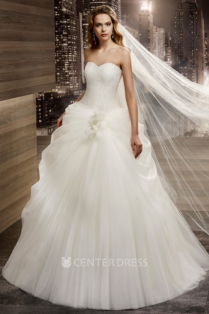 4d4083070d1 Sweetheart A-line Wedding Gown with Side Ruching and Lace-up Back - UCenter  Dress
