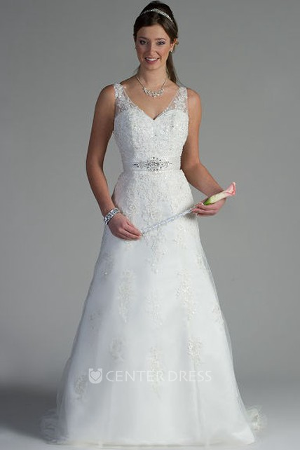 909459b4 V Neck Appliqued Top A-Line Tulle Bridal Gown With Sequins And Crystals -  UCenter Dress