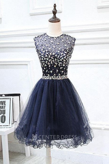 Short Tulle Beaded Dress With Keyhole Back