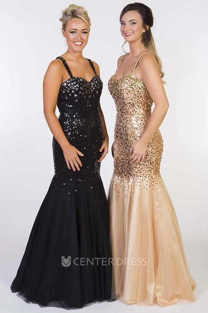 Mermaid Maxi Crystal Spaghetti Sleeveless Sequin Prom Dress With Straps