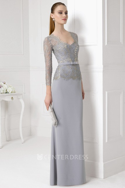 19d485b16d4d Floor-Length Illusion Sleeve Appliqued V-Neck Jersey Prom Dress - UCenter  Dress
