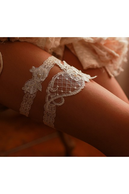 Handmade Beaded Sexy Two-piece Lace Elastic Garter Within 16-23inch