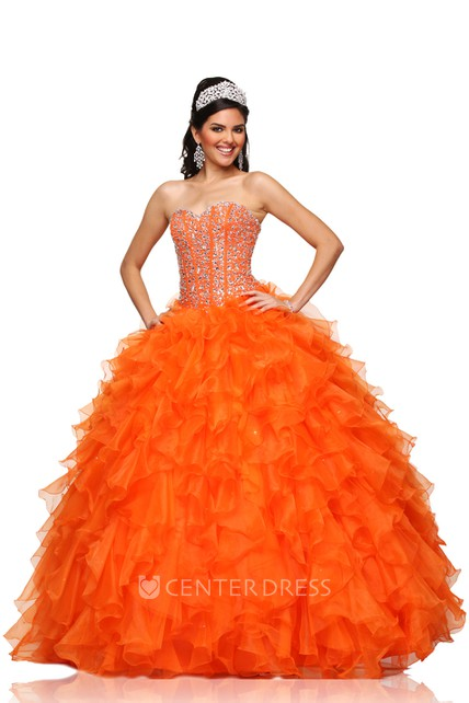 A-Line Sweetheart Sleeveless Chiffon Ball Gown With Cascading Ruffles And Crystal Bodice