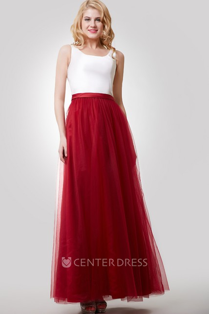 8a60908c7ce039 A-Line Sleeveless Color Blocking Dress With Tulle Skirt and Bateau Neck -  UCenter Dress
