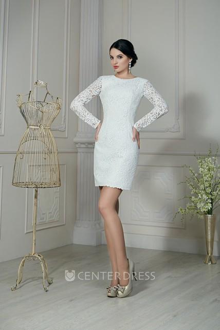 a86d52dc2de Sheath Short Jewel-Neck Illusion-Sleeve Low-V-Back Lace Dress - UCenter  Dress
