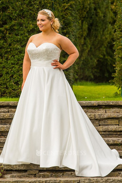 A-Line Long Sweetheart Satin Plus Size Wedding Dress With Beading ...