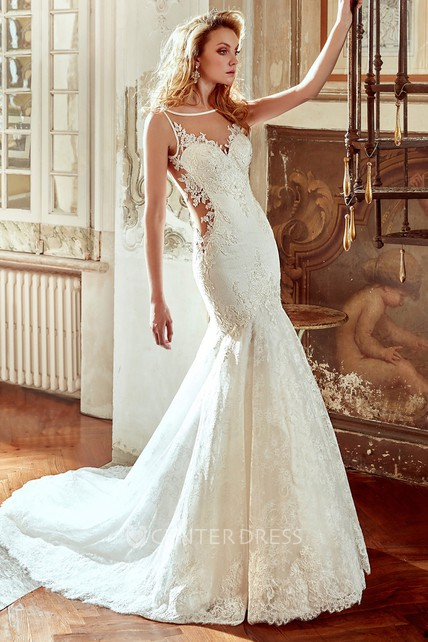 Mermaid Style Wedding Dress.Sweetheart Lace Wedding Dress With Mermaid Style And Open Back