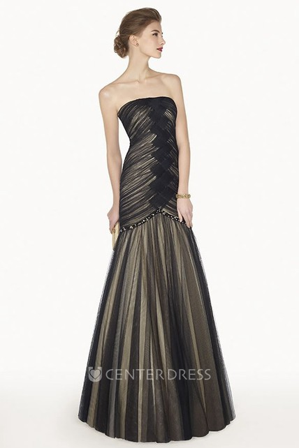 f415023149b Strapless Trumpet Tulle Long Prom Dress With Criss Cross Bodice - UCenter  Dress
