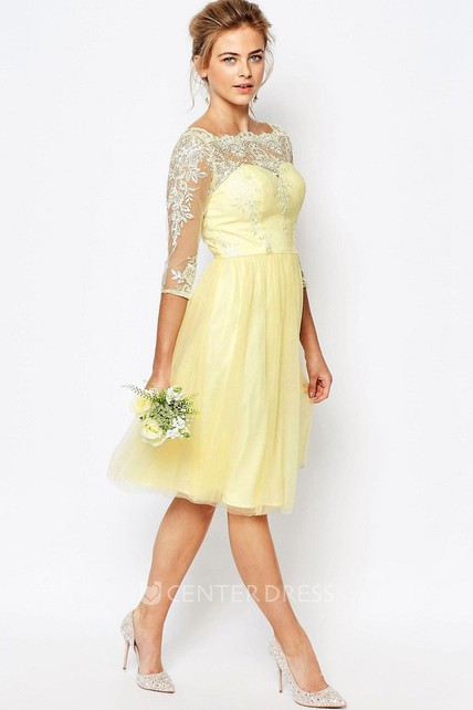Knee-Length A-Line 3-4 Sleeve Appliqued High Neck Tulle Bridesmaid Dress