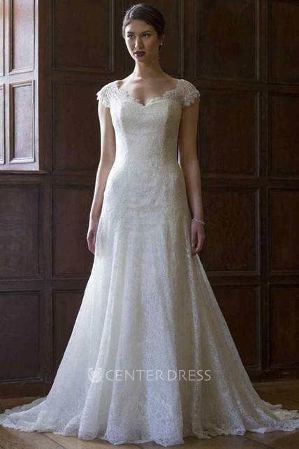 dd1f6e104b6 A-Line Cap-Sleeve V-Neck Lace Wedding Dress With Illusion - UCenter Dress