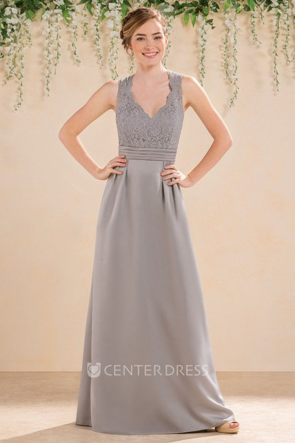 0f2563b3543 V-Neck Sleeveless A-Line Bridesmaid Dress With Lace Bodice And Keyhole Back  - UCenter Dress