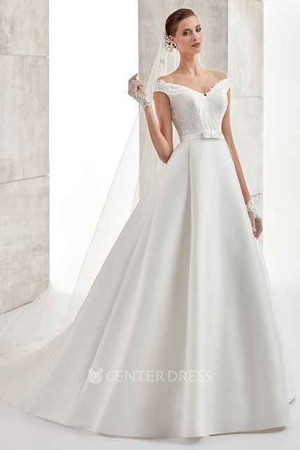 Sweetheart A-line Satin Wedding Dress with Lace Bodice and Brush Train