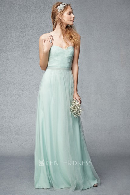 Ruched Sleeveless Sweetheart Tulle Bridesmaid Dress