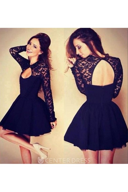 293a125bae5 Sexy Halter Long Sleeve Short Homecoming Dress With Lace - UCenter Dress