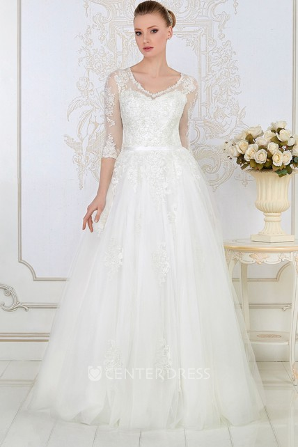 9c44b36180477 A-Line 3-4-Sleeve V-Neck Tulle&Lace Wedding Dress With Illusion - UCenter  Dress