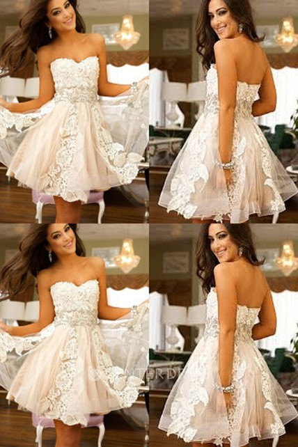 A-line Short Mini Sleeveless Sweetheart Appliques Lace Tulle Homecoming Dress