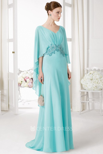 d5ccde6dd1c V-Neck Poet Sleeve Beaded Chiffon Prom Dress With Ruching And Brush Train -  UCenter Dress