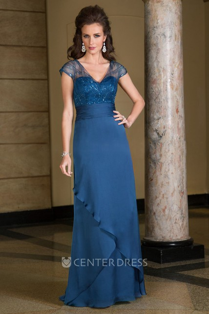 55202ca732d Cap-Sleeved V-Neck Long Mother Of The Bride Dress With Ruffles And Sequins  - UCenter Dress