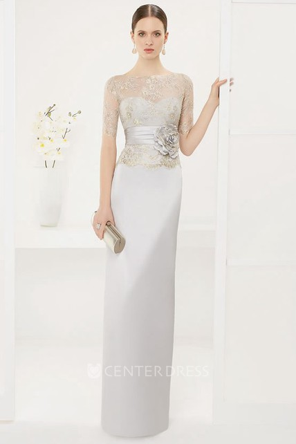 Bateau Short Sleeve Sheath Satin Long Dress With Lace Top And Flower